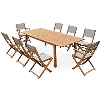 Salon de Jardin en Bois Extensible - Almeria - Grande Table 180 ...
