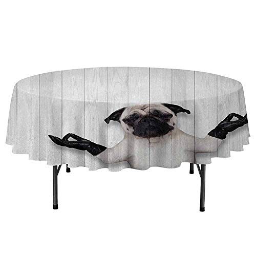 Douglas Hill Animal Waterproof Anti-Wrinkle no Pollution Meditating Funny Pug Dog with Leather Gloves on Wooden Board Spiritual World Theme Round Tablecloth D67 Inch Black White