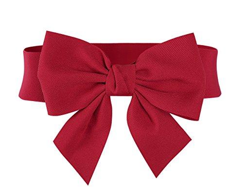 MUXXN Red Bow Belt for Womne Adjustable Hgih Stretch Cotton Belt (Red ()