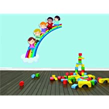 Top Selling Decals - Prices Reduced : DAYCARE CLASSROOM Kids Children Boy Girl Sliding On Colorful Rainbow Graphic Design Wall - Best Selling Cling Transfer Color 529Size : 16 Inches X 24 Inches - Vinyl Wall Sticker - 22 Colors Available