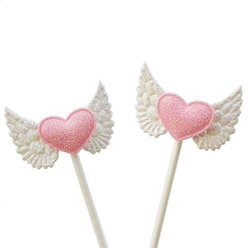 20 Pcs Angel Wings Pink Heart Cupcake Picks Birthday Cake Toppers for Baby Shower Decoration Wedding Party Supplies