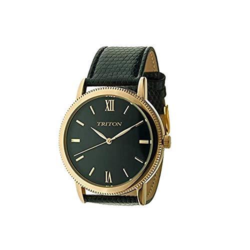 Relógio dourado, analogico, pulseira preta, Triton MTX223