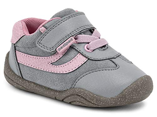pediped Girls' Cliff First Walker Shoe, Grey, Pink, 19 Child EU Toddler (4-4.5 US)