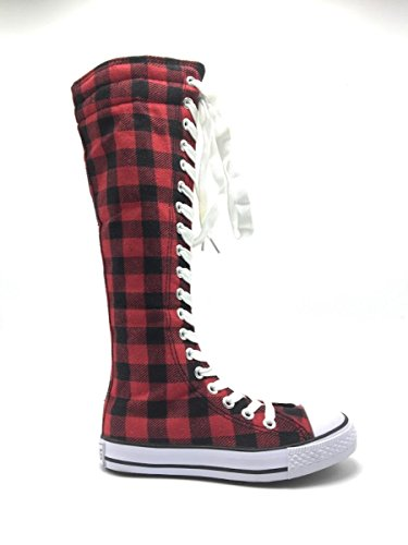 Kids Consider Sneakers Classic Dev up Skate Girls New Canvas 10 Red Size Dancing Shoes Punk Tall Boot 1 085 Going RF4ndwxq