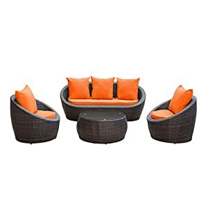 Smooth Wicker Outdoor Rattan 4 Piece Sofa Set Brown Orange FMP251876