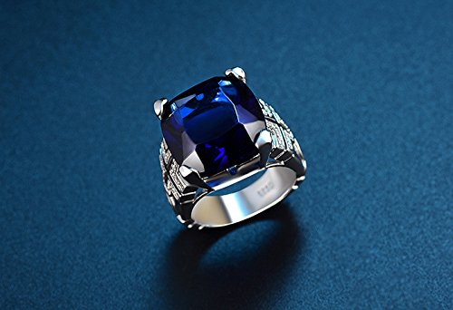 Bellystar Women Luxury Big 6 Carat Blue Cubic Zirconia CZ Solid 925 Sterling Silver Wedding Ring