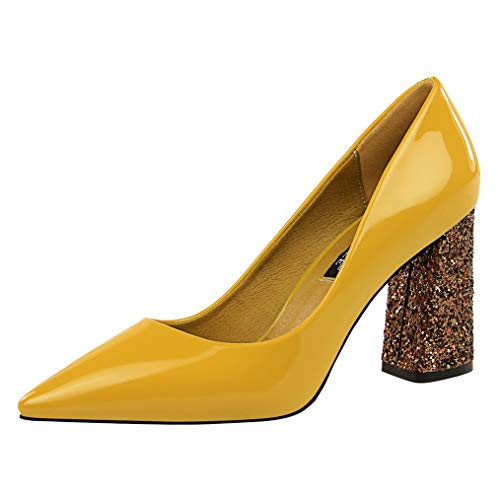 (Sam Carle Women Pumps, Fashion Patent Leather Sequins High Thick Heel Pointed Toe Shoes)