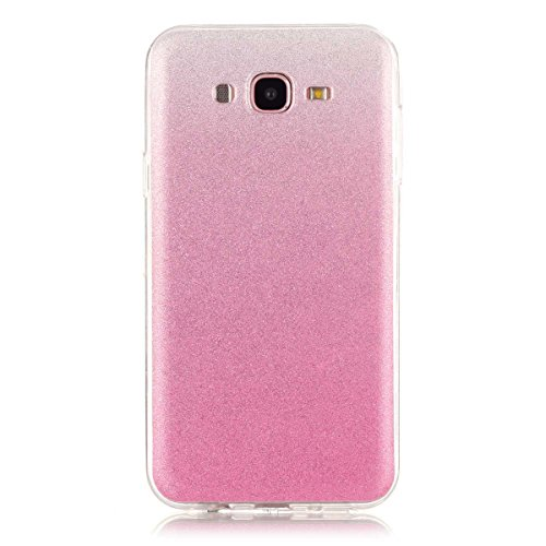 Price comparison product image Moonmini Gradient Color Sparkling Glitter Ultra Slim Fit Soft TPU Phone Back Case Cover for Samsung Galaxy J7 (2015) - Pink