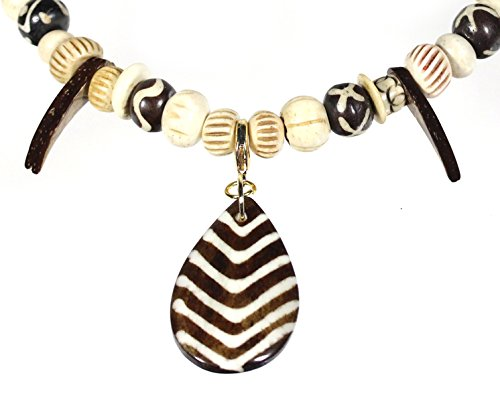 - Style-ARThouse Dem Bones, Hand-carved Natural Bone and Coconut Shell Necklace, 25 Inches
