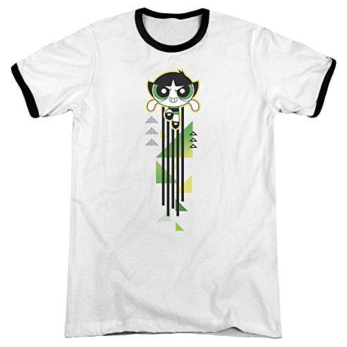 Trevco Powerpuff Girls Buttercup Streak Unisex Adult Ringer T Shirt for Men and Women ()