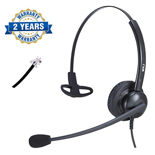 Corded RJ9 Telephone Headset with Noise Cancelling Microphone for Business Phones 3COM Avaya Aastra AudioCodes Atcom Digium Fanvil Mitel Nortel