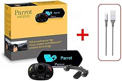 Kit de Manos Libres Bluetooth para Coche Parrot 9100 MKI9100 + Cable Micro USB de 100 cm. para Samsung Huawei Nokia