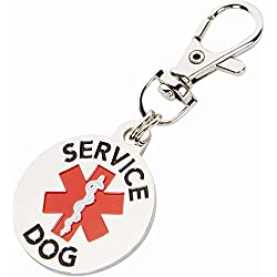 DOUBLE SIDED SERVICE DOG with Red Medical Alert Symbol 1.25 inch Durable Dog Tag