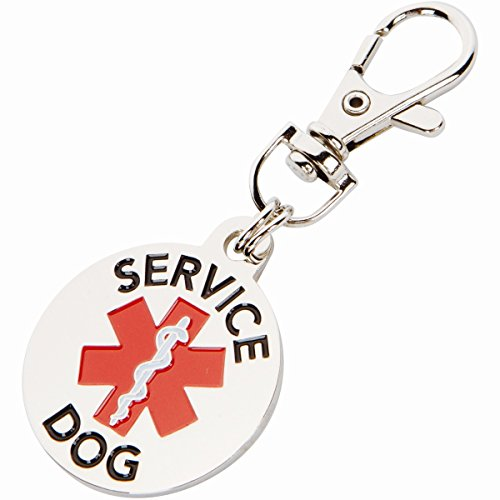 Tag Service Dog - K9King Service Dog TAG Double Sided with Red Medical Alert Symbol 1.25 inch Diameter. Easily Switch Between Collar Vest and Harness