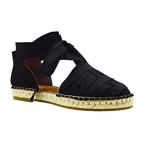 Angelina Womens Nastro In Grosgrain Cravatta In Tela Casual Espadrillas Sneaker Nero