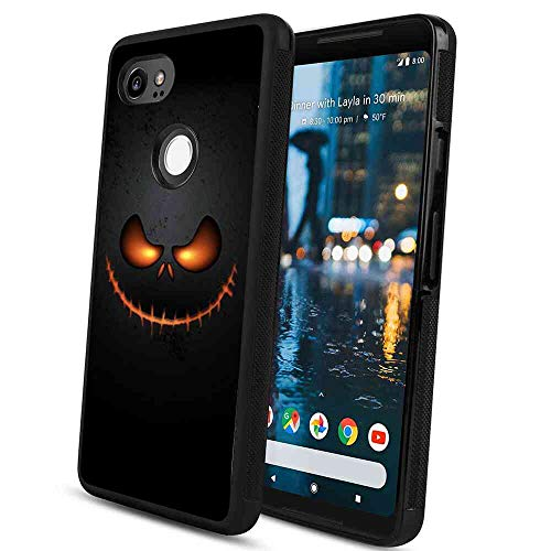 Case Compatible with Google Pixel 2 XL 6in Halloween Skull Pumpkin Head Monster Ghost Terror Scary Smile Emoji Expression-2 ()