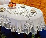 """Battenberg Vinyl Lace Tablecloth 54""""x72"""" Oval"""