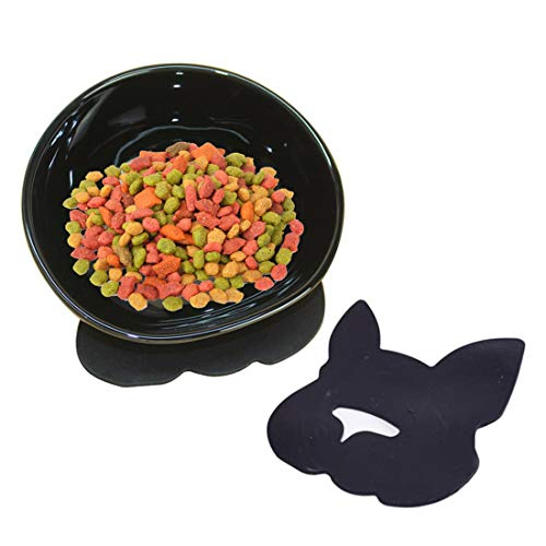 Ceramic Pet Food - YMAXGO Ceramics Single Food Feeding Bowl for Flat Face Dogs/Cats, Non-Slip Design