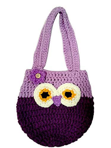 (Life Space Cute Happy Owl Mini Purse / Handbag, Nature Soft Cotton/Milk Fiber, Crochet, Handmade - Great Special Present for 2,3,4,5,6 Year Preschool Girls (purple))