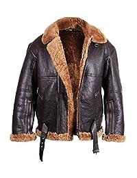 Brandslock Mens Aviator Shearling Sheepskin Leather Jacket Genuine Leather