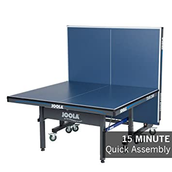 JOOLA Tour – Competition Grade MDF Indoor Table Tennis Table with Quick Clamp Ping Pong Net Set – 10 Minutes Easy Assembly – USATT Approved – Ping Pong Table with Single Player Playback Mode
