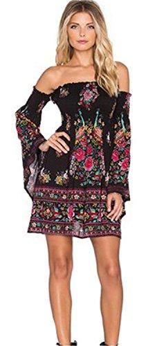 Line azteca campana africano etnico manica Scoperte Ad Off a Svasato Barocco A Abito svasate Mini A Linea Shoulder Dress The Skater Spalle tromba Vestito con Nero Tribal 8CxOqUx6w