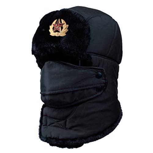 (Soviet Army Military Badge Russia Bomber Hats Pilot Trapper Hat Winter Earflap Men Snow Caps Black)