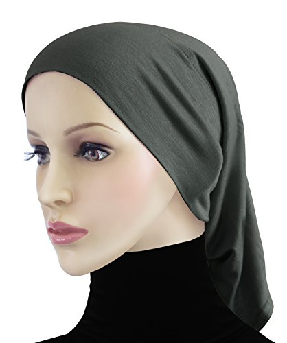Cotton Hijab 2 piece Amira Set Easy Instant Pull-On Hood & Tube Cap (Charcoal Gray) by Khatib Fashions (Image #1)