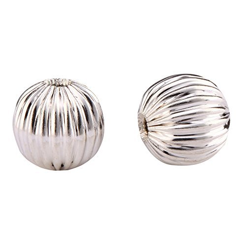 50 Beautiful Loose Melon Round Spacer Beads 10mm Sterling Silver Plated Brass Metal for Jewelry Craft Making ()