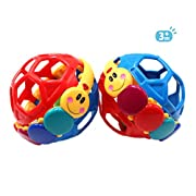 SPADORIVE Set of 2 Durable Baby Bendy Ball Easy to bend and squeeze Funny Infant Educational Toys Attractive Baby Rolling Rattle Ball inside - Parenting Interactive Toys(Random Color)