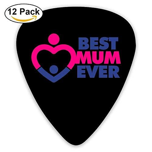 Mum Print (jsh2546eggh Guitarist Guitar Plectrums,Print Best Mum Ever With A Heart,0.46Mm/0.73Mm/0.96Mm,12 Pack For Guitarist Musicians Best Gift)