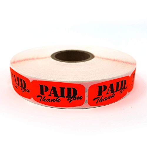 Paid Thank You Store Sticker, Fluorescent Orange Self-Adhesive Retail Merchandise Labels, 10000 Pack