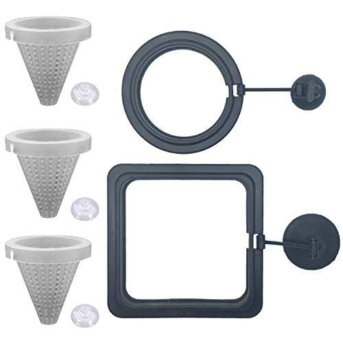 NGe 5Pcs Round Square Cone Fish Feeder Set, Floating Food Feeding Ring, Live Red Worm Feeder Funnel Plate, with Suction Cups (Black)