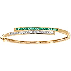 Revoni 9K Yellow Gold Emerald Diamond Bangle Crossover Set Gemstone