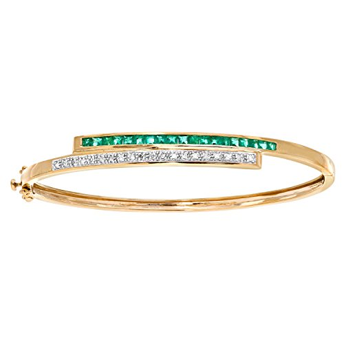 Revoni 9K Yellow Gold Emerald Diamond Bangle Crossover Set (9 Ct Gold Bangles)