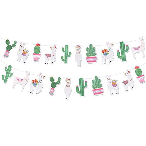 Llama Party Supplies Party Banners - Mexican Fiesta/Cino De Mayo Llama Cactus Baby Shower/Birthday Party Decorations - Alpaca Succulent Bolivian Peru Party Home Decorations
