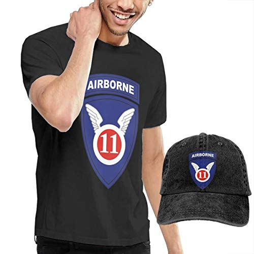 United States Army Airborne School The 11th Airborne Men's T Shirt Tops Tees & Baseball Cap Trucker Hat Set Funny Novelty S Black ()