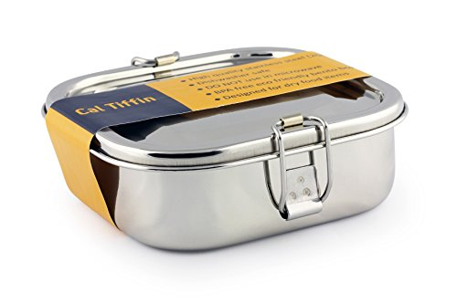 (Cal Tiffin Stainless Steel SQUARE Bento Lunchbox 25 oz, 2-compartment - Eco friendly, Dishwasher Safe, BPA free )