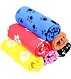 Pecute Soft Warm Pet Puppy Dog Cat Paw Print Fleece Blanket Mat Pad Bed Cover Random Color