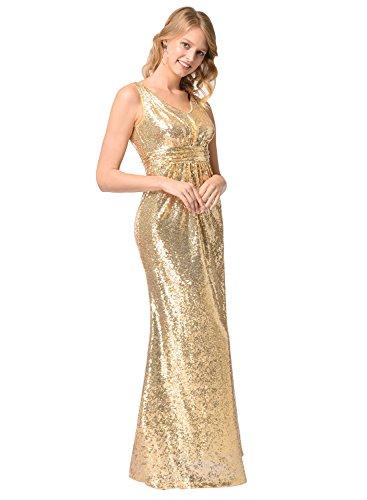fiesta del mujeres Oro largos deformación vestido de V vestido fuera Cuello las vestidos Ruiyige de la de noche de lentejuelas w6S4zIqw
