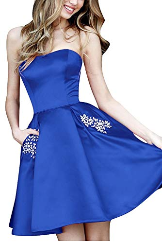 (Strapless Short Prom Crystals Homecoming Dress with Pocket Royal Blue 4)