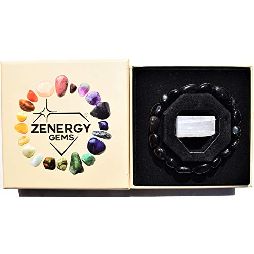 Zenergy Gems Charged Natural Black Tourmaline Crystal Stretchy Bracelet + Selenite Crystal Charger Included Psychic Protection