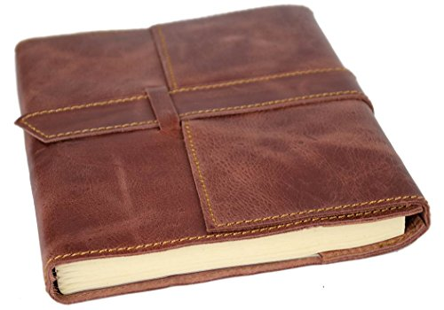 Attache Large Brown Handmade Leather Wrap Refillable Journal (21cm x 15cm x 2cm)