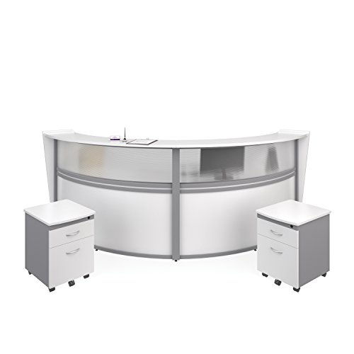 - OFM Marque Series Plexi Double-Unit Curved Reception Station - Office Furniture Receptionist/Secretary Desk with Two White Pedestals (PKG-55312-WHITE)