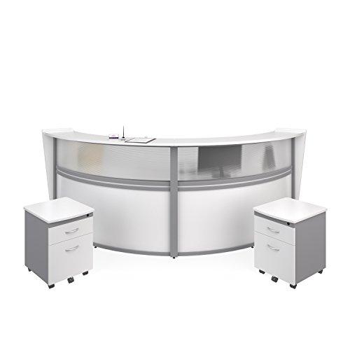OFM Marque Series Plexi Double-Unit Curved Reception Station - Office Furniture Receptionist/Secretary Desk with Two White Pedestals - Double Desk Secretary