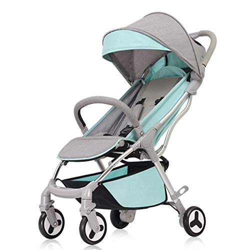 TMY Comfortable Pushchair Ultra-Light Foldable Pushchairs Prams Can Sit Reclining Baby Trolley Strollers Shock Absorbers Newborn Baby Strollers Buggies (Color : Blue, Size : 24.812.5939.76inchs)