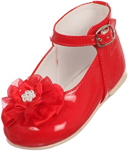 Little Baby Girl Infant Toddler Patent Bow Ankle Strap High Top Dress Shoes Red 3 Infant (T77R23K) (Girls Red Sequin Shoe Covers)