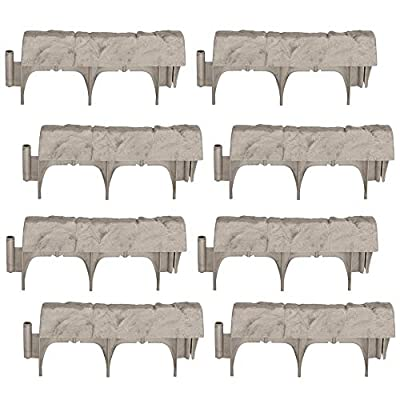 Suncast Landscape Design Border Decorative Natural Rock Stone Edging (8 Pack)