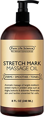Anti Stretch Marks Massage Oil - All Natural Ingredients - Penetrates Skin 6X Deeper Than Stretch Mark Cream - Targets Unwanted Fat Tissues & Improves Skin Firmness - 8 OZ (Best Body Lotion To Prevent Stretch Marks)