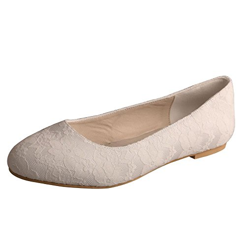 Wedopus MW403 Women's Closed Toe Ballet Flats Low Heel Lace Wedding Bridal Dress Shoes Size 9 Ivory